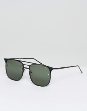 Quay Australia Черные солнцезащитные очки-авиаторы Hendrix. Цвет: черный