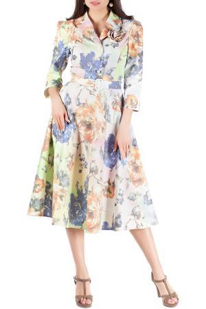 Платье Mannon. Цвет: салатово-розовый
