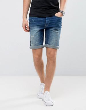 Burton Menswear Джинсовые шорты скинни. Цвет: темно-синий
