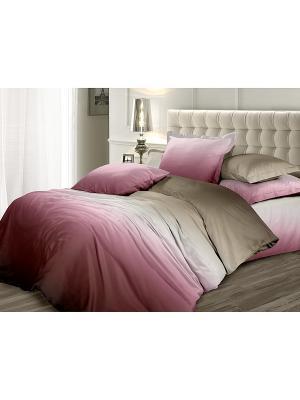 Комплект постельного белья 2,0 сатин Сливовая нежность Унисон. Цвет: сиреневый, серый