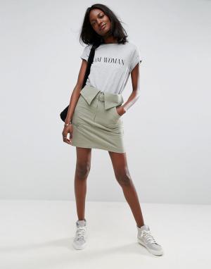 ASOS Мини-юбка с поясом. Цвет: зеленый