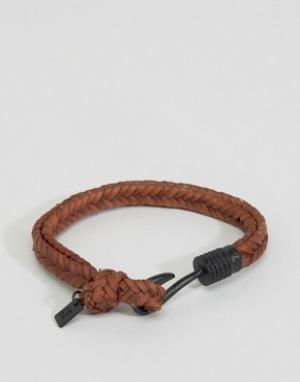 Icon Brand Коричневый плетеный браслет с крючком. Цвет: коричневый