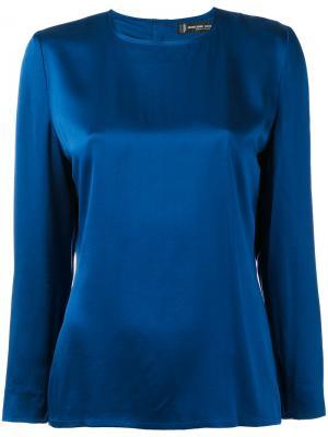 Минималистичная блузка 1990-х годов выпуска Jean Louis Scherrer Vintage. Цвет: синий