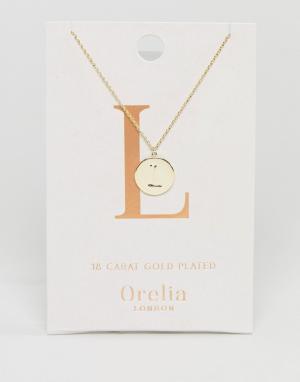 Orelia Позолоченное ожерелье с инициалом L на подвеске-диске. Цвет: золотой