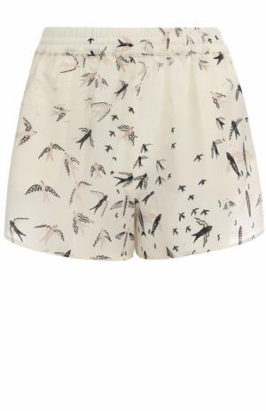 Шелковые мини-шорты с принтом Valentino. Цвет: белый