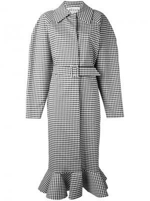 Свободное пальто в клетку гингем A.W.A.K.E.. Цвет: чёрный