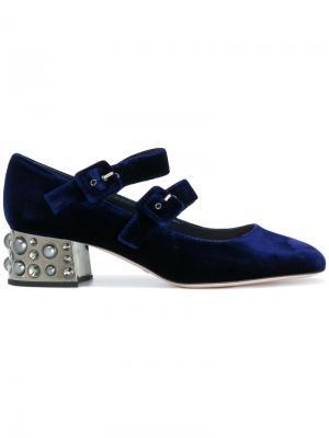 Туфли с декорированными каблуками Sebastian. Цвет: синий