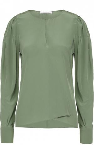 Шелковая блуза асимметричного кроя с вырезом-капелька Dorothee Schumacher. Цвет: зеленый