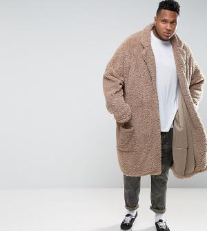 ASOS Oversize-пальто PLUS. Цвет: бежевый