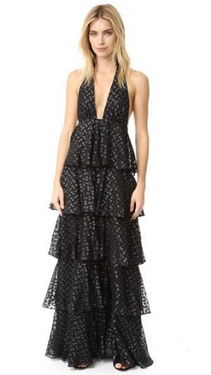 Вечернее платье с оборками и рисунком в четкий горошек Jill Stuart. Цвет: голубой