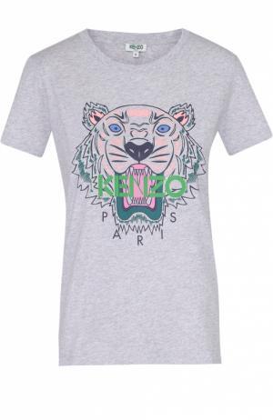 Хлопковая футболка с контрастным принтом Kenzo. Цвет: серый