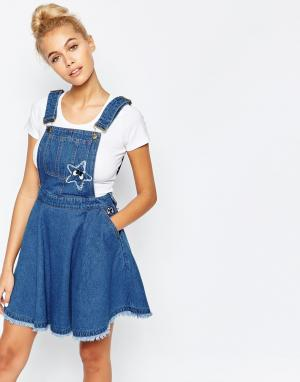 Mini Cream Джинсовое платье-комбинезон. Цвет: синий