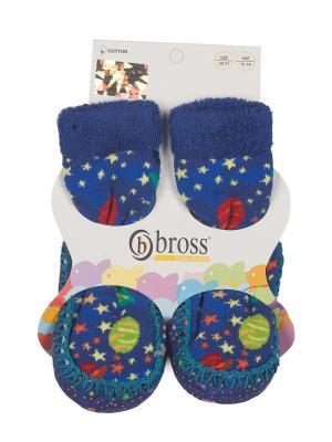 Тапочки-носки противоскользящие BROSS. Цвет: синий, бирюзовый