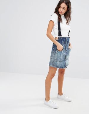 G-Star Строгая юбка-трапеция на подтяжках Dadin. Цвет: синий