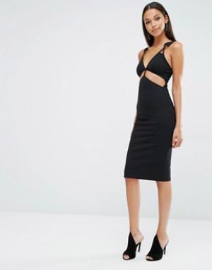 AQ Платье миди с вырезами AQ/AQ King. Цвет: черный
