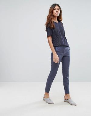Selected Строгие брюки укороченного кроя Muse. Цвет: синий