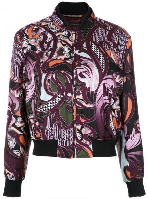 Куртка-бомбер Baroccoflage Versace. Цвет: розовый и фиолетовый