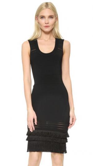 Платье из ткани в рубчик с бахромой и овальным вырезом Yigal Azrouel. Цвет: блестящий черный