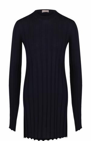 Удлиненный шерстяной пуловер фактурной вязки MRZ. Цвет: темно-синий