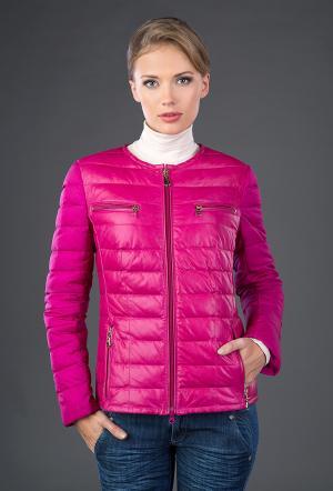 Кожаная стеганая куртка на пуху  цвета фуксии AFG. Цвет: фуксия