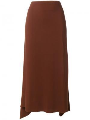 Юбка с асимметричным подолом Jil Sander. Цвет: коричневый