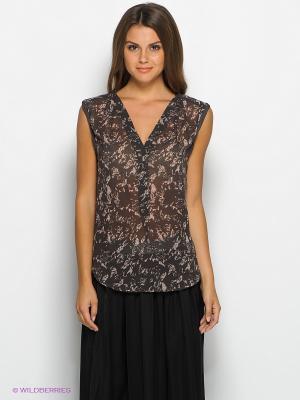 Блузка SELECTED. Цвет: коричневый, кремовый