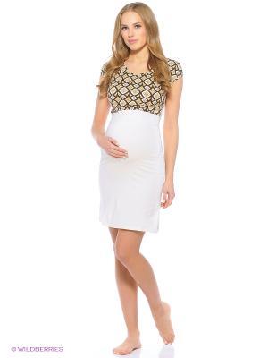 Ночная сорочка для беременных и кормления 40 недель. Цвет: молочный