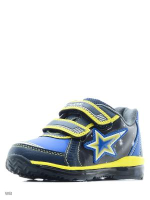 Кроссовки GEOX. Цвет: синий, светло-желтый