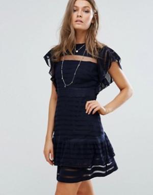 Foxiedox Платье мини с рукавами-оборками. Цвет: темно-синий