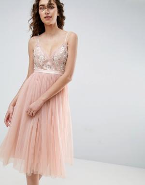 Needle & Thread Тюлевое платье миди с вышивкой and. Цвет: розовый