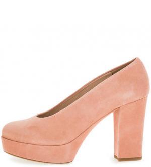 Замшевые туфли на платформе и каблуке UNISA. Цвет: розовый