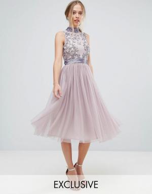 Amelia Rose Платье миди с тюлевой юбкой. Цвет: фиолетовый