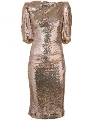 Приталенное платье с эффектом металлик Talbot Runhof. Цвет: металлический