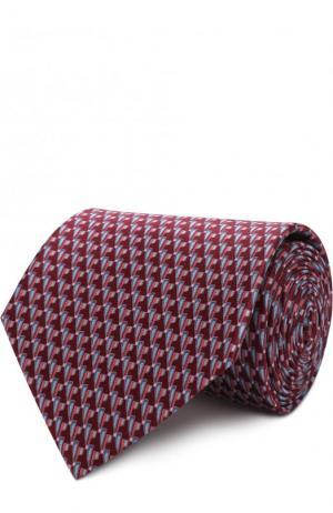 Комплект из шелкового галстука и платка Lanvin. Цвет: бордовый