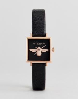 Olivia Burton Часы с черным кожаным ремешком и 3D-пчелой OB16AM128. Цвет: черный