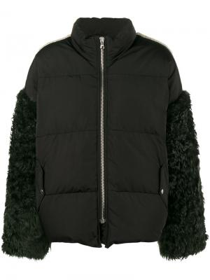 Пальто Eldridge с перьями на рукавах Sandy Liang. Цвет: чёрный