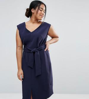 Closet Plus Свободное платье без рукавов с завязкой на талии. Цвет: темно-синий
