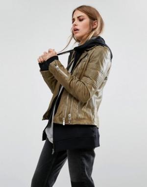 Goosecraft Кожаная байкерская куртка в винтажном стиле. Цвет: коричневый