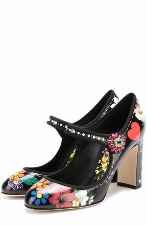 Кожаные туфли Vally с цветочным принтом Dolce & Gabbana. Цвет: черный