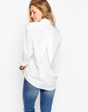 ASOS Белая рубашка бойфренда со складкой сзади. Цвет: белый