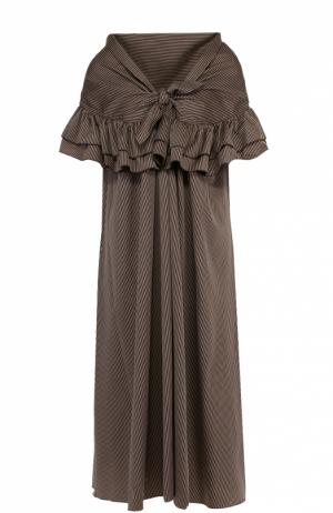 Платье прямого кроя в полоску с открытыми плечами Isa Arfen. Цвет: коричневый