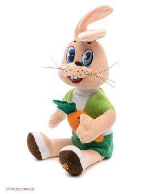 Мягкая игрушка Заяц с морковкой Мульти-пульти. Цвет: бежевый, зеленый