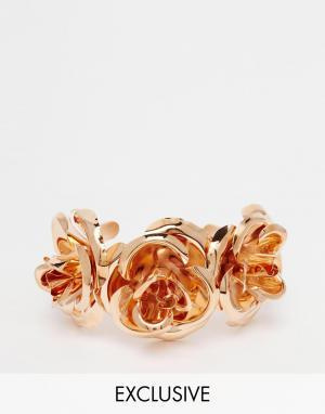 Mordekai Браслет-манжета с розами. Цвет: золотой