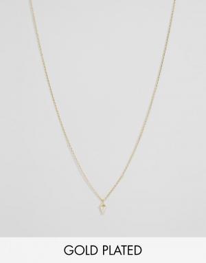 Orelia Позолоченное ожерелье с подвеской фианитом. Цвет: золотой