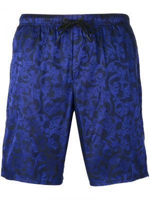 Пляжные шорты с вышивкой Baroque Versace. Цвет: чёрный