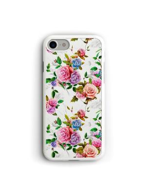 Чехол для iPhone 7/8 Цветы Boom Case. Цвет: голубой, белый, розовый
