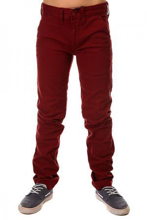 Штаны узкие детские DC Wrk Slm Chno Syrah Shoes. Цвет: бордовый