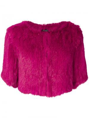 Укороченная куртка с короткими рукавами Yves Salomon Accessories. Цвет: розовый и фиолетовый