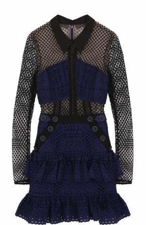 Кружевное мини-платье с длинным рукавом self-portrait. Цвет: темно-синий