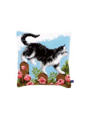Набор для вышивания лицевой стороны наволочки Кошка на разведке 40*40см Vervaco. Цвет: голубой, белый, зеленый, коричневый, черный